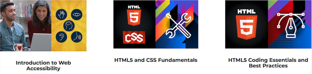 Visuals of 3 W3Cx courses: Intro to Web Accessibility, HTML5 and CSS Fundamentals and HTML5 Coding Essentials