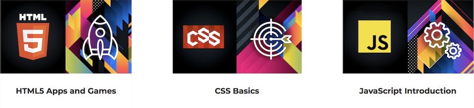 Visuals of 3 W3Cx courses: HTML5 Apps and Games, CSS Basics and JavaScript Introduction